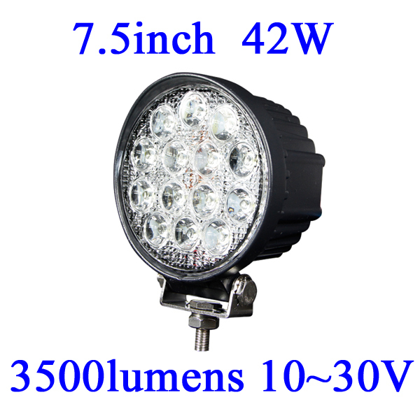 FOR JEEP 42W LED Work Light 3500 Lumen Offroad Driving Lamp, 7.5inch 10-30V DC IP67 FLOOR BEAM cree free shipping