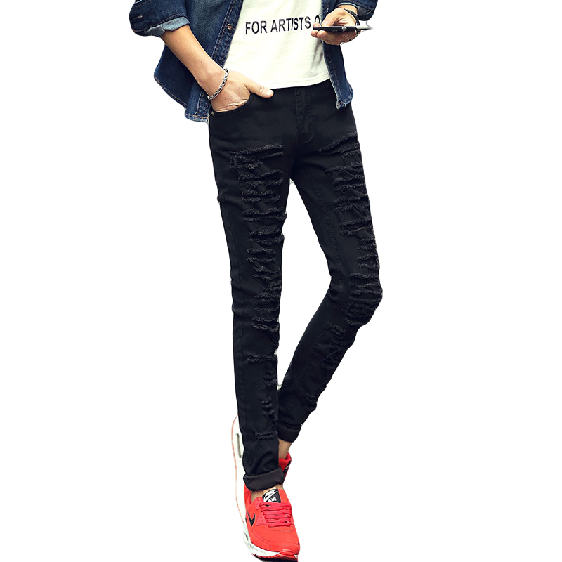 Korean Style Black Ripped Denim Jeans Men Fashion Skinny Jeans Pants Male Slim Fit Cut Pencil ...