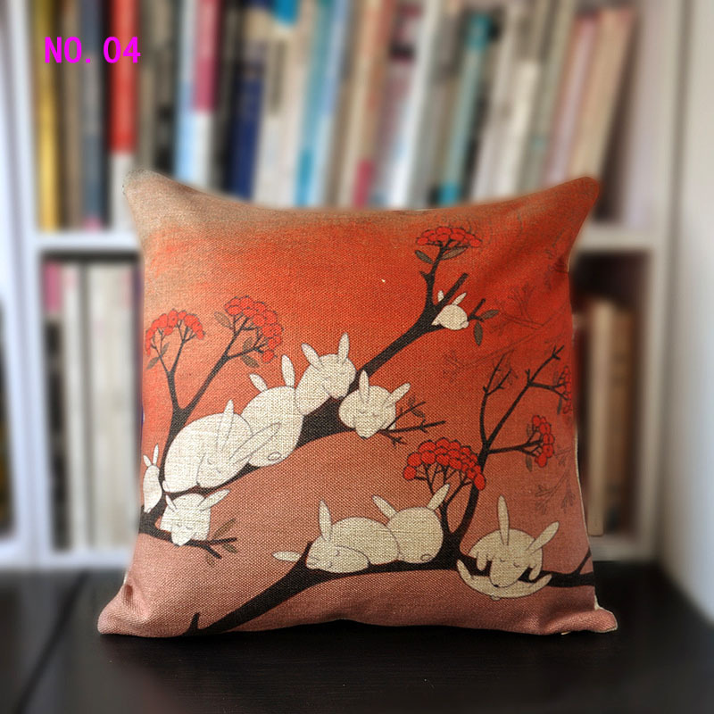 Foxes rabbits Pillow cover Modern Animal cushion cover office pillows home Decorative sofa cushion cover