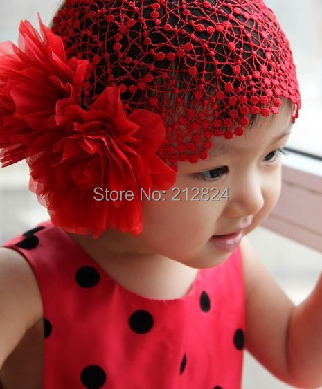 Baby GIRLS HEADBAND Cute Lace Flower Fascinate Hair Bands BEANIE FLOWER LACE ELASTIC Children Hair tie For Babies 3 color(China (Mainland))