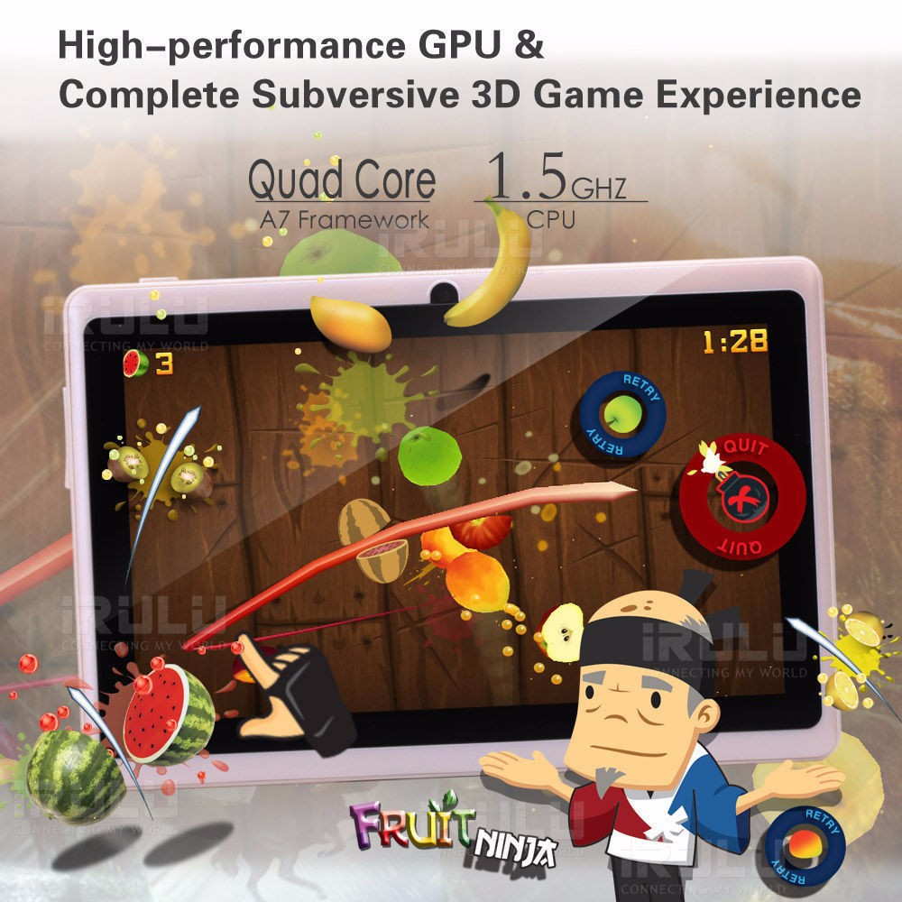 iRULU eXpro X1 7'' Tablet PC Android4.4 16GB ROM Quad Core 1024*600HD Google GMS Passed OWIFI Tablet New Hot W/Tablet Stand GIft