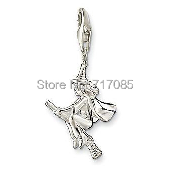 A witch riding on a broom charm made from Sterling Silver TS wholesale free shipping(China (Mainland))