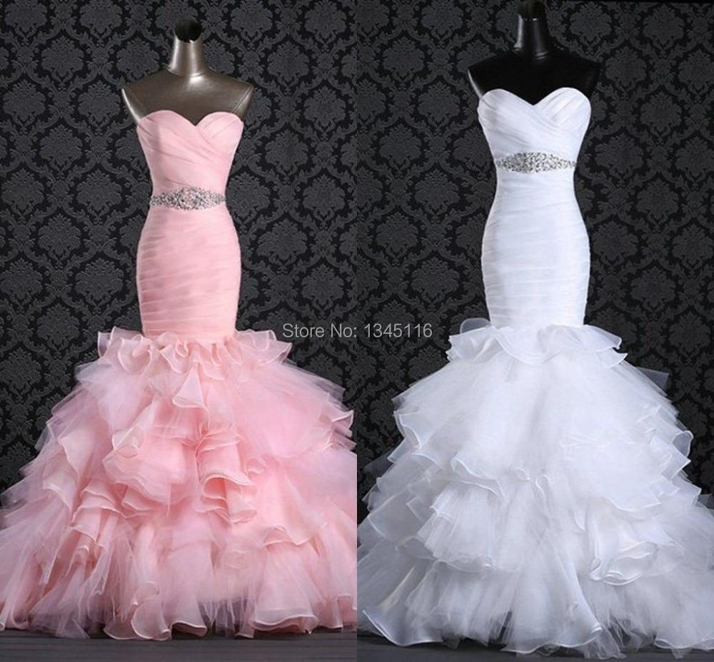 Pink Wedding Dresses Mermaid Style : Pink mermaid wedding dresses real sample bridal gowns in