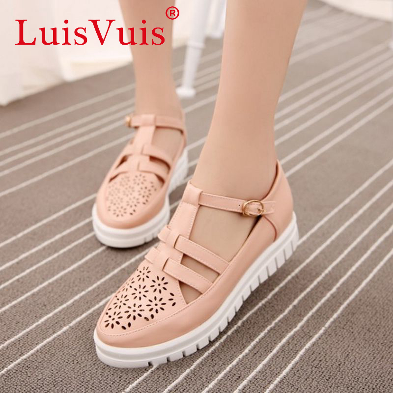new pattern platform shoes fretwork spring women quality leisure footwear fashion flats buckle shoes size 34-43 P23242