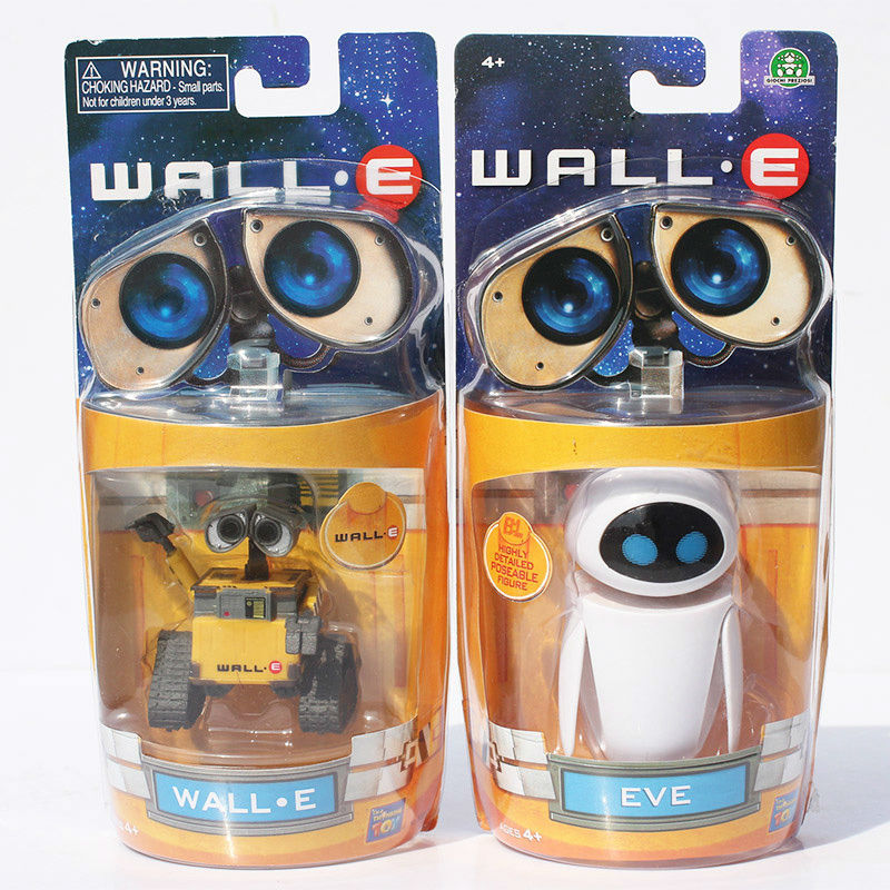 6-10cm 2pcs/lot Wall-E Robot Wall E &amp; EVE PVC Action Figure Collection Model Toys Dolls<br><br>Aliexpress