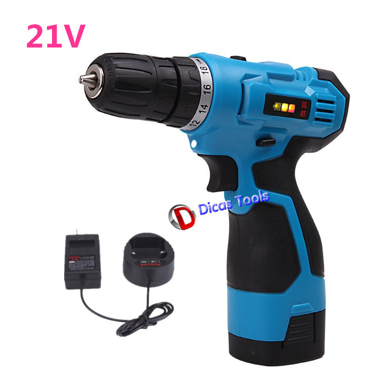 21V New Electric Screwdriver Multi function Cordless Drill Battery Rechargeable Farafusadeira Furadeira Manual Power Tools