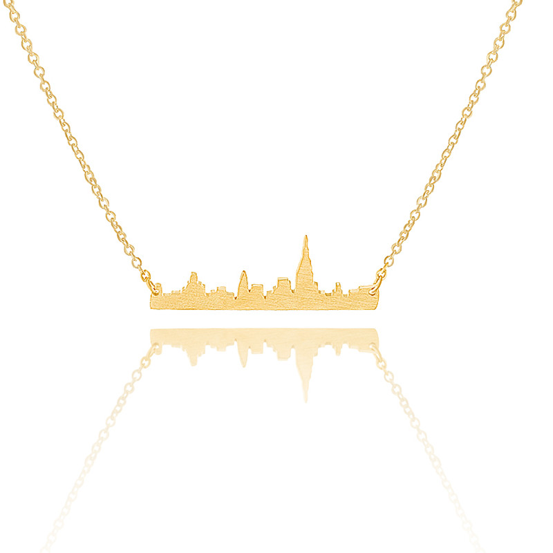 N00110 Vintage 2016 Joyas Charm Skyline New York City State Necklace Women Men Fine Jewelry Gold Silver Chain Cityscape Neckalce(China (Mainland))