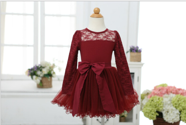 Hot Baby Girl Long Sleeve Lace Bow Ruffles Mesh Tutu Dresses, Princess Christmas Red & Black Wear(China (Mainland))
