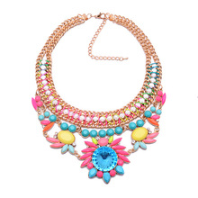 2015 New Arrival Fashion Rope Multi-layer Resin Vintage Statement Luxury Shourouk za  Flower Necklace &Pendants Flower3801(China (Mainland))