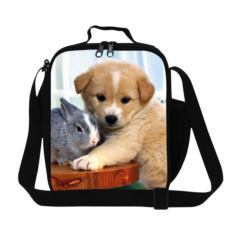 Cute Animal Insulated Lunch Bag For Kids Puppy Pet Womens Lunch Box 3D Dog Print Outdoor Picnic Thermal Food Bags Free Shipping(China (Mainland))