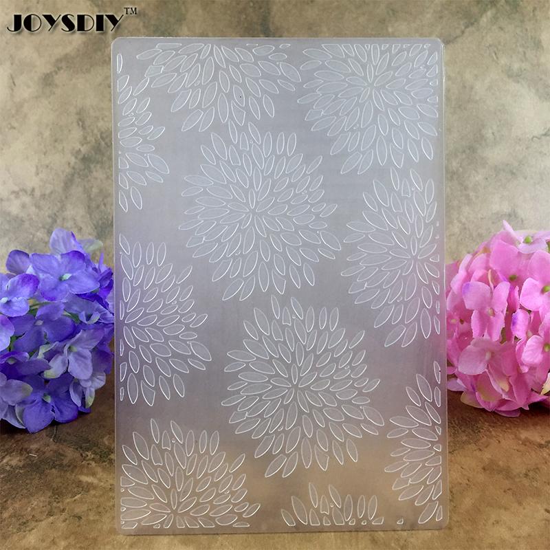 Cute Chrysanthemum Flowers DIY Scrapbook Bump Plastic Embossing Folder For Album Card Tool Plastic Template Embossing 15.5*10.5