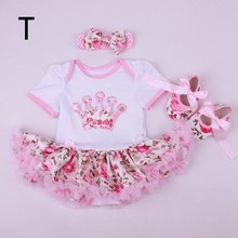 Free Shipping Cute 1SET Rompers Dresses, Mini Baby Clothes Sets girl clothing Tutu Romper  Set =Headband+Rompers+shoes(China (Mainland))