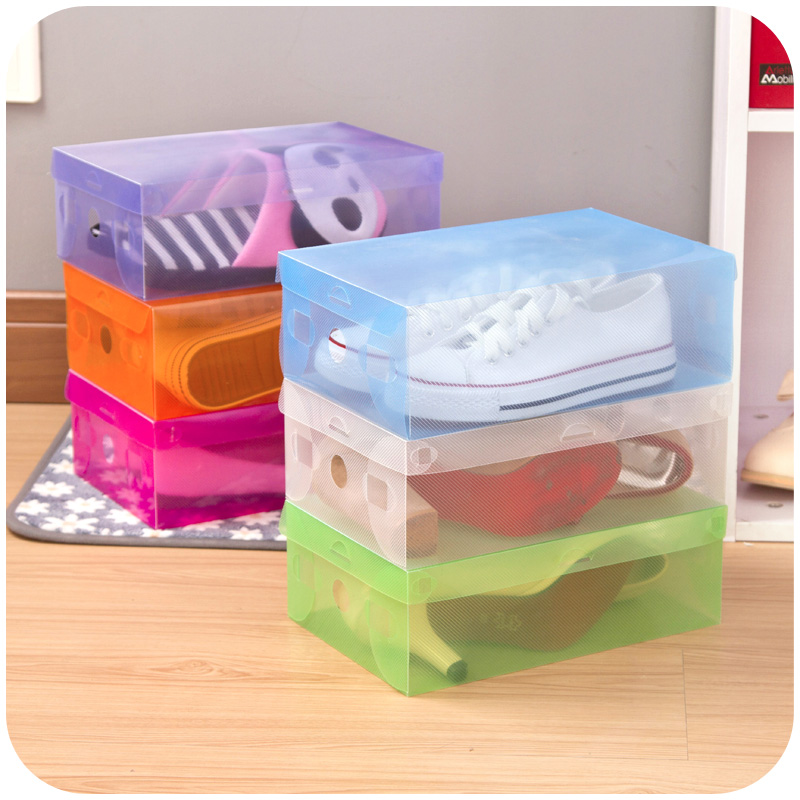 Transparent shoebox Popular Hot Sell 1PC Foldable Clear Shoes Storage Box Plastic Stackable Shoe Organizer Wholesale 64015(China (Mainland))