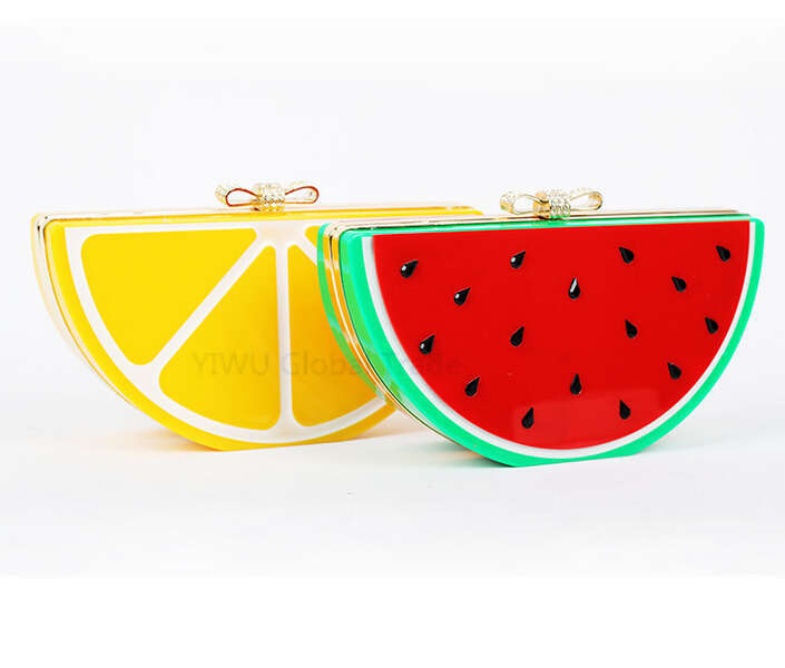New Special Evening Bag Watermelon Lemon Fruit Acrylic Bag Bow Small Women Evening Bag Patchwork Clutch Blosa 0124A<br><br>Aliexpress