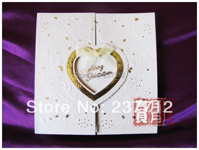 Chinese Beige wedding cards invitation 2014 free printing Romantic wedding invitation cards with free shipping(China (Mainland))