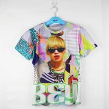 Super star 3D tshirt beyonce Sunglasses printed street t-shirt Jay-z wife fashion women/men's cool summer t shirt tees
