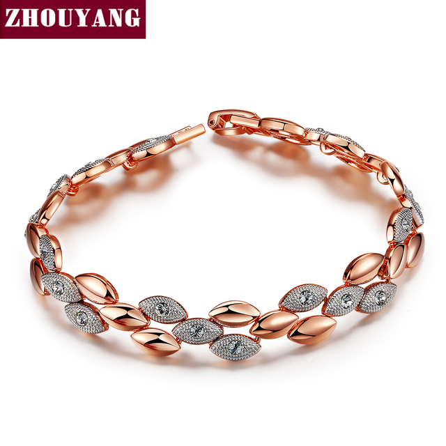 Top Quality ZYH014 Frosting Elliptic Charms 18K Rose Gold Plated Bracelet Jewelry   Austrian Crystals Wholesale