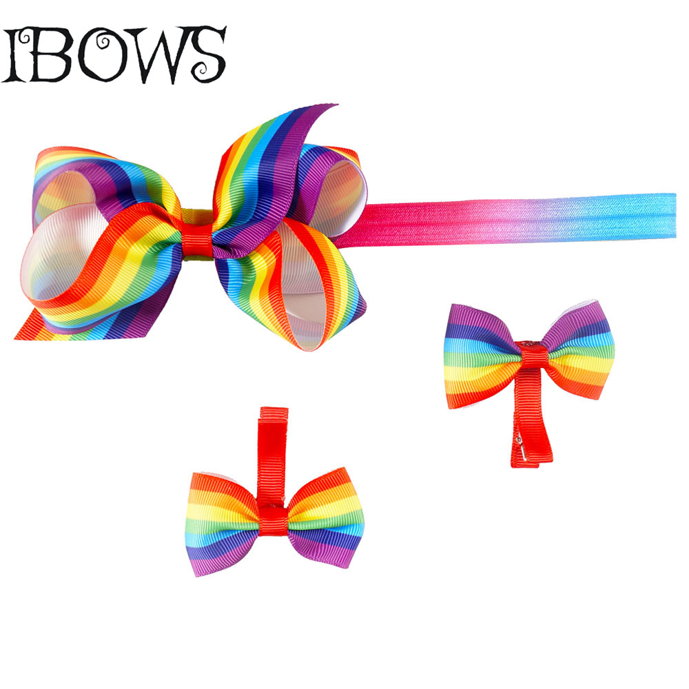 1 Set Top Sale Baby Ribbon Rainbow Stripe Bow Knotted Hair Clips Headband With Elastic Girl Kid Headwrap(China (Mainland))