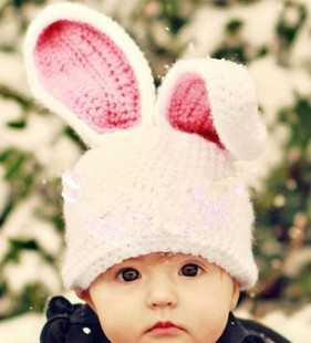 baby hats Super lovely infants and young children cartoon bunny ears large long one hundred days by hand wool hat baby pictures(China (Mainland))