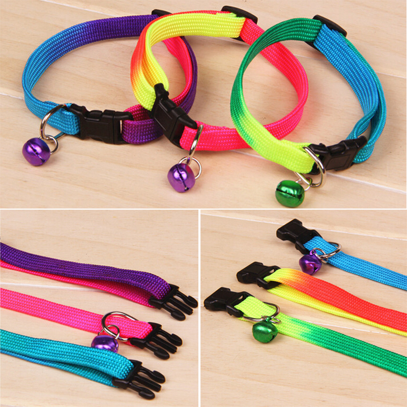 Pet Bell Lead Leash Flat Collar Quick Release Plastic Buckle Pet Dog Puppy Cat Neck Collar Rope Strap Colorful(China (Mainland))
