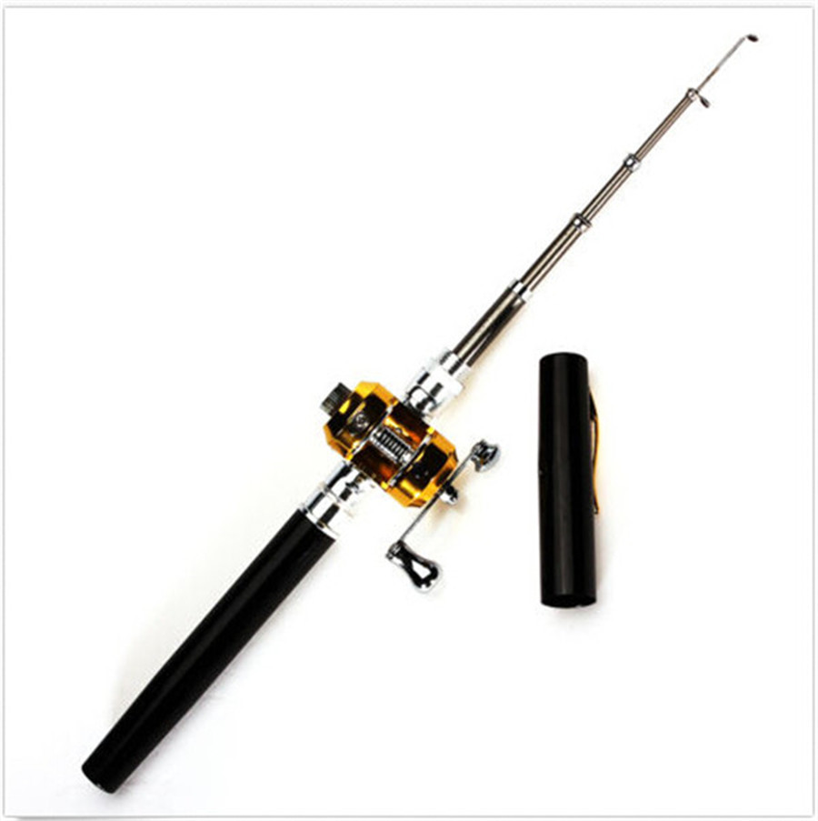 1pc Mini Pocket Aluminum Alloy Fishing Rod Pen Shape Fishing Rod Pole Fish Reel S061