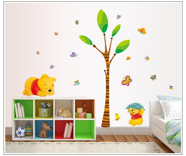 Бесплатная доставка медведь бабочка играть под дерево стены стикеры для детской комнаты стены декоративные наклейки 7044 Nursey стикер