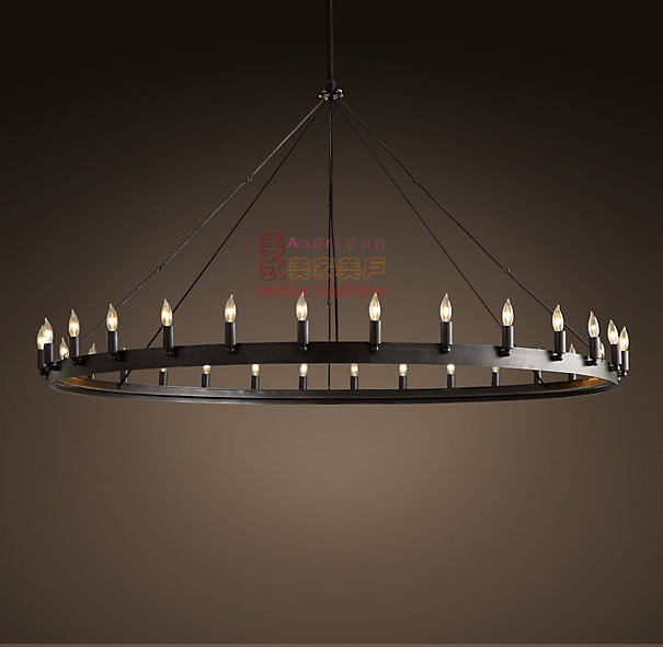 Vintage industrial iron lamps American country Loft Restaurant Bar 12 Round Table hanging candle lighting(China (Mainland))