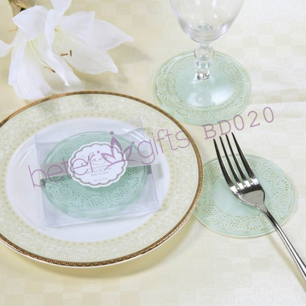 Free Shipping 100pcs=50box Exquisite LOVE Crafts Glass Coasters BD020 Worldwide Various Wedding item supply(China (Mainland))