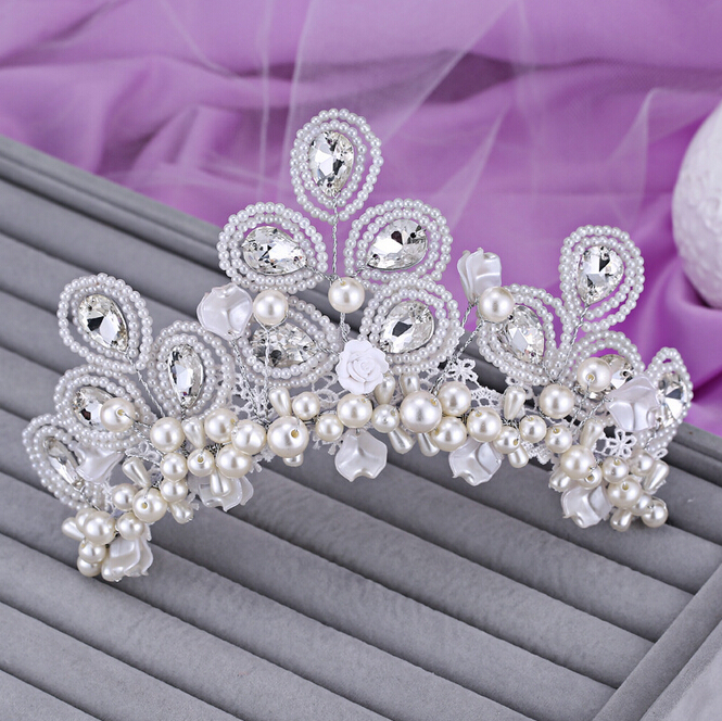 Wedding hair accessories sweetly pearl beaded rhinestone tiara bridal hair jewerly hairpins womens head decorations headdress<br><br>Aliexpress