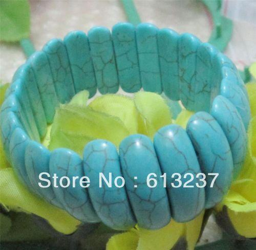 hot free Shipping new 2014 Fashion Style diy Natura 8-24mm blue Turkey Turquoise Bracelet 7.5'' MY4662(China (Mainland))