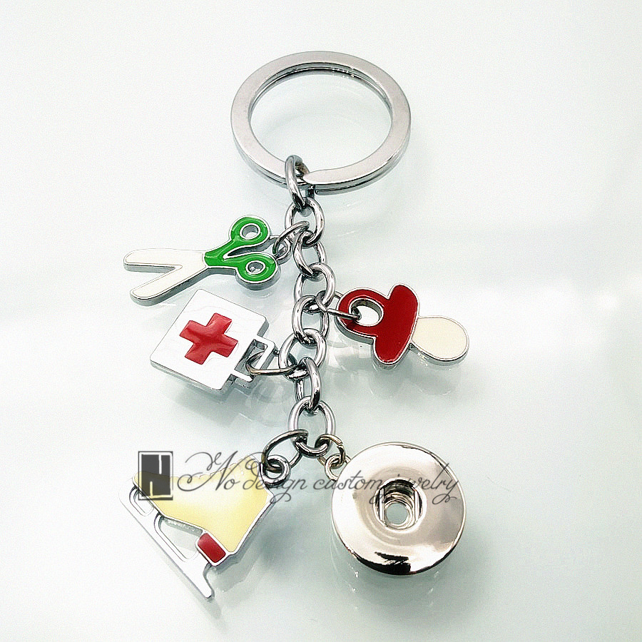 color enamel Roller skates, scissors, pharmaceutical package dangle Key Ring 12 mm snap button Key Chain key rings gift(China (Mainland))