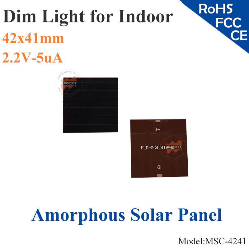 41x42mm 2.2V 5uA dim light Thin Film Amorphous Silicon Solar Cell ITO glass for indoor Product,calculator,toy,0-1.8V battery(China (Mainland))