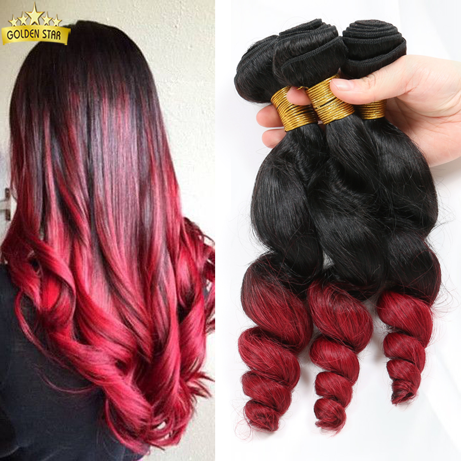 8a Unprocessed Indian Virgin Hair  Indian Remy Hair Weave 1b/Burgundy Loose Wave Ombre Two Tone Red Color Cexxy Hair Company <br><br>Aliexpress
