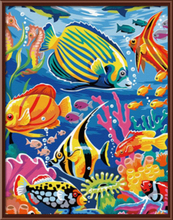 Home Decor Frameless Pictures Painting By Numbers DIY Canvas Oil Painting Modern Style Of Fish Wall Art Animal G047(China (Mainland))