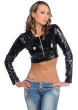 Buy New Sexy Latex Pu Tops Faux MAT Faux Leather Short Top Zipper Open Front Short Tops Long Sleeves Faux Leather Shirts X111