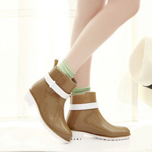 Women Brand Rain Shoes Ankle Rainboots Rubber Boot Sapatos Femininos 5 Colors Size 36-40 Discount(China (Mainland))