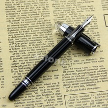 Buy BAOER 79 BRIGHT BLACK STARWALKER MEDIUM NIB FOUNTAIN PEN SILVERY TRIM for $2.23 in AliExpress store
