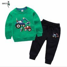 아기 소년 옷 신생아 면화 만화 긴 소매 티셔츠 탑스 바지 어린이 유아 의류 키즈 Bebes 조깅 슈트 2 PCS(China)