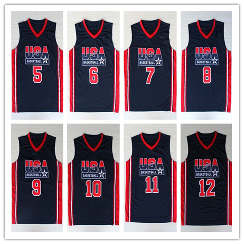1992 Olympic Game Dream Team USA Basketball Jerseys #7 Larry Bird #9 Michael Jordan Navy Blue Retro Throwback Jersey Embroidery(China (Mainland))