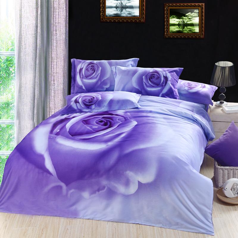 3d Lilac Purple Rose Floral Flower Bedding Comforter Set