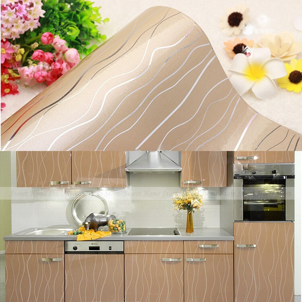Yazi Glossy Champagne Stripe Pvc Shelf Liner Contact Paper Kitchen Units Cupboard Door Cover Wallpaper 61x250cmjpg