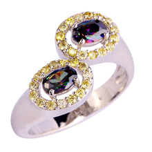 Buy Lingmei Fashion Crystal Jewelry multicolor Rainbow CZ Silver Ring Size 6 7 8 9 10 11 12 women Wholesale for $4.89 in AliExpress store
