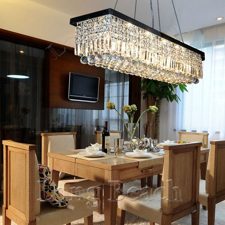 Led Crystal Chandelier Light Fixture For Dining Room Pandent Lamp Size