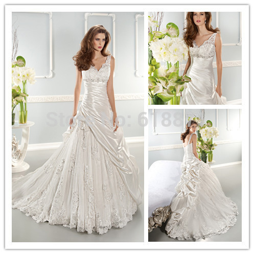 Luxury A Line Sexy V Neck Floor Length Wedding Dresses 2016 Backless Applique Beaded Stain Tulle Combination Bridal Mariage Gown(China (Mainland))