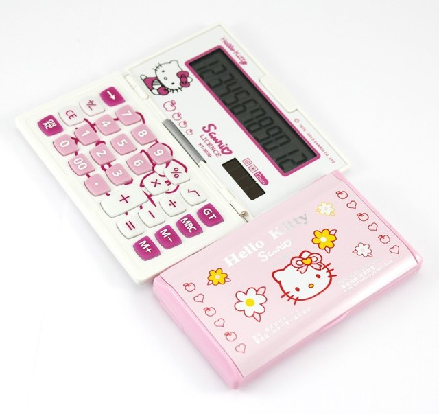 Free shipping Hello kitty 12 digits calculator Cartton Sola power electronic calculator Folding portable office supplies LED