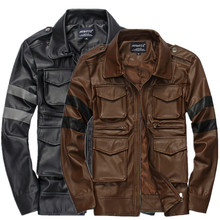 2016 New Brand Motorcycle Leather Jacket Men, Black Brown Men's leather jacket, Jaqueta de Couro Masculina Winter Leather Jacket(China (Mainland))