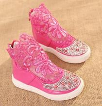 Kids party shoes spring 2016 lace hollow out shoes hot style children's fashion sweet princess elsa shoes infantis 453d(China (Mainland))