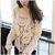 Free shipping Beige Black White  Embroidery Floral Lace Crochet Blouse female Tee Top Shirt long Sleeve Vest