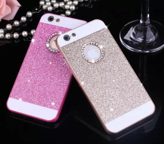 50 Pieces/Lot Wholesale Phone Case FOR iPHONE 5S 6/6S 6Plus/6S Plus Glitter PC+Acrylic Diamante Phone Case Cover For iPhone(China (Mainland))