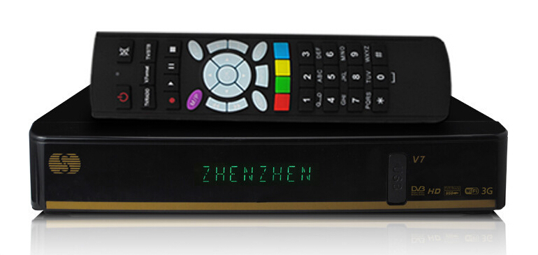 SKYBOX V7 Digital Satellite Receiver S V7 S-V7 with AV output VFD Screen Support WEB TV USB Wifi 3G Biss Key Youporn CCCAMD(China (Mainland))
